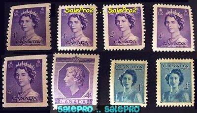 8x CANADA 1948 1953 CANADIAN QUEEN ELIZABETH FV FACE 32 CENT COIL MNH STAMP LOT