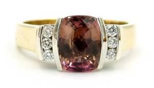 9ct Pink Tourmaline and Diamond Ring Size R 5.34G 229353