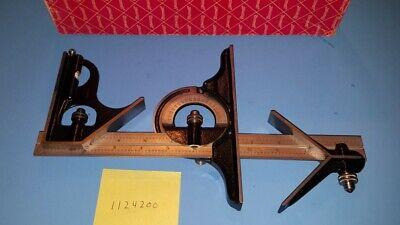 Starrett Combination Square 12 Square Center Head Protractor 490 4r Nice 16r