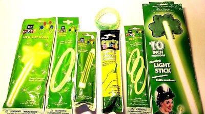 Glow Light Up Accessories Sticks Jewelry Wands Green Costume Fun Safety Lots NIP - Glow Sticks Costume