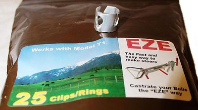 Eze Castrator Band Clip Set T-1 Calves 250lbs And Up 25 Count Of Each