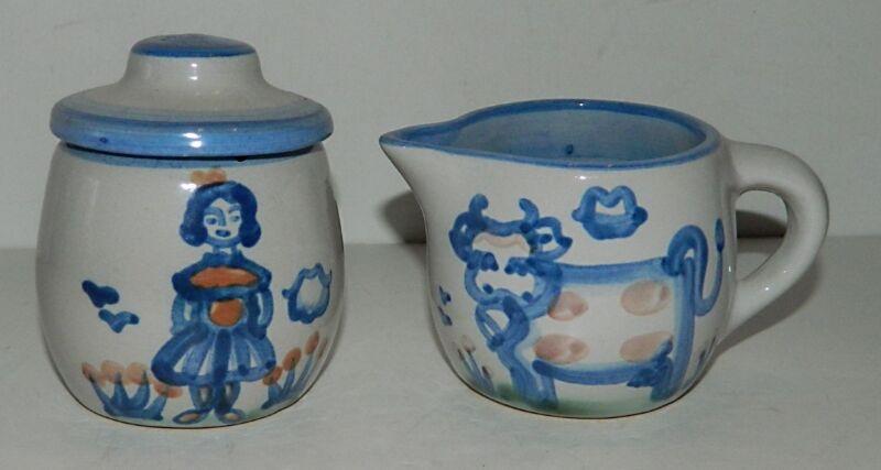 M.A. Hadley COUNTRY SCENE BLUE Small Sugar & Creamer