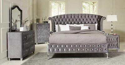 Coasters Furniture Deanna Queen Upholstered Grey Velvet 6 Piece Bedroom Set ()