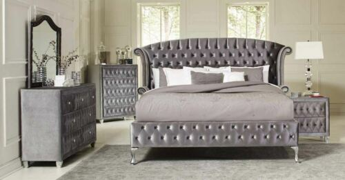 Coasters Furniture Deanna Queen Upholstered Grey Velvet 6 Piece Bedroom Set