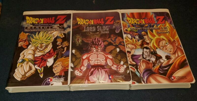 Dragonball Z 3 VHS Movie Lot - Clamshell Case 3 DBZ Movies Broly Lord Slug etc..