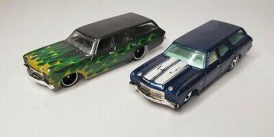 Hot Wheels 70 Chevelle SS Wagon (Green) flames, 1970 Chevelle SS wagon blue