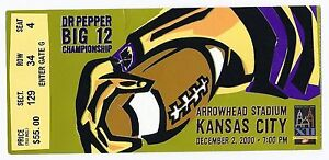 2000 NCAA football Big 12 Championship Ticket Stub Kansas State Oklahoma