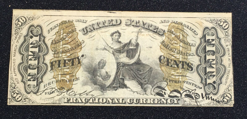 1863 3rd Issue US Fractional Currency 50c FIFTY CENTS XF FR 1365 Justice Mr. C