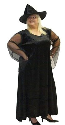 THE BLACK WITCH/HALOWEEN/HORROR FANCY DRESS COSTUME WITH HAT PLUS SIZES - Witch Haloween