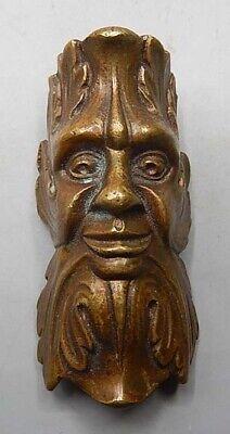 Amazing Antiq 19th C Small Cast Brass Figural Face - 2 3/4