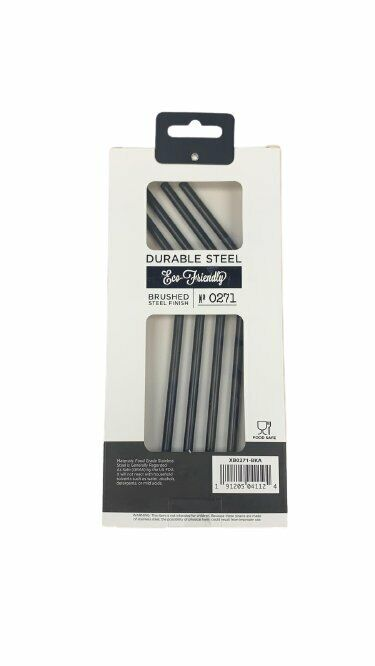 BLKSmith Durable Brushed Steel Finish Set of 4 Straws, Black