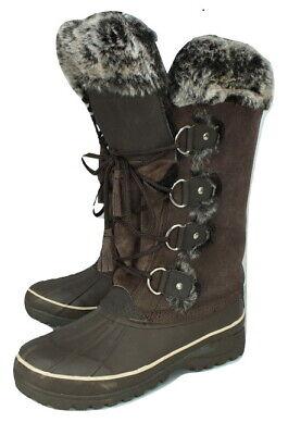 Khombu Leather Suede Boots Faux Fur UK 6 Brown Snow Eskimo Lace-Up
