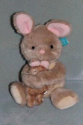 Dakin Mama & Baby Hugging Bunny Rabbit Plush Toy Doll 1984