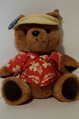 Dakin Sonny Bear 8 Plush Toy Teddy Bear (yellow Visor, Hawaiian Shirt) 1986