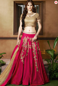 A Line Art Silk Lehenga In Pink (Indian Clothes)