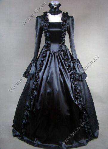 Renaissance Victorian Black Masquerade Dress Gothic Theatrical Ball Gown 119