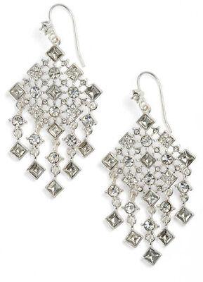 $68 Ralph Lauren Silver Tone Square Stone Drop Chandelier Earrings White NEW