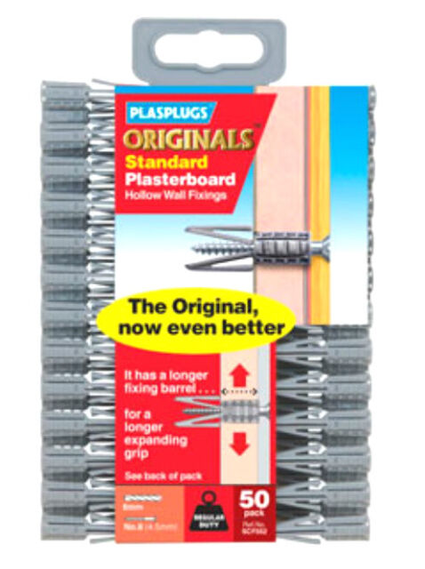 50 Plasplugs For Plasterboard Hollow Wall Fixings 7mm
