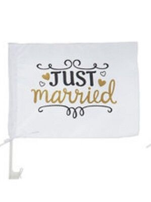 Black & Gold Glitte Just Married Car Flag!! X 4 Celebrate in Style, Shabby Chic! - Wedding Supplies In Bulk