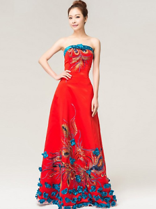 Strapless Modern Cheongsam Qipao Blue Ribbon Red Sequin Size 6 Ipswich Ipswich City Preview