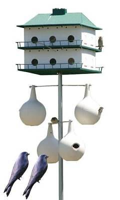 Heath 12-Room Two-Story Purple Martin House with Pole, 4 Gourds and 2 Decoys