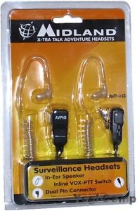 Midland AVPH3 X-Tra Talk Surveillance Walkie Talkie Radio Headsets AVP-H3 NEW!