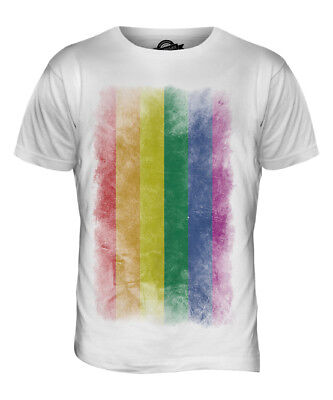 GAY PRIDE FADED FLAG MENS T-SHIRT TEE TOP RAINBOW LGBT GIFT