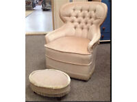 FRENCH LOUIS Royal Armoire QUEEN DRESSING VANITY CHAIR & FOOTSTOOL CHESTERFIELD