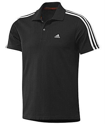 New Mens Adidas Essentials Climalite 3 Stripe Polo Shirt T-Shirt - Black
