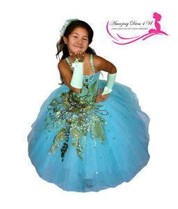 New 3PC Flower Girl Pageant Dress, Size 6-7