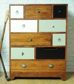 Vintage Multi-Coloured 10 Drawer Chest - New - Free Delivery