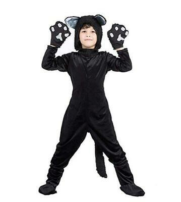Childrens Black Cat Costume (Kids Black Cat Costume for Boys/Girls Cosplay, Child Animal Playful)