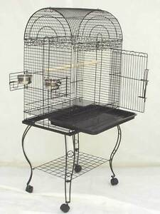 PARROT-BIRD-CAGE-DOMED-W-STAND-24x16x53-0203-BLACK-VEIN