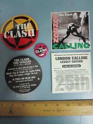 THE CLASH Epic Records 2 sticker/badge promo set NEW old stock MINT condition