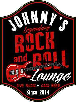 Personalized Rock & Roll Lounge Guitar Wood Sign, Wall Mounted, Home, Music  Lounge Wood Sign