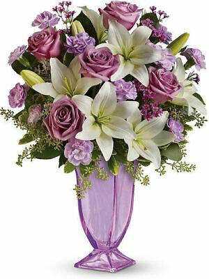 Glass Love Vase (Teleflora Lavender Love Vase - Lavender Glass Pedestal Vase - 12M200 - New )