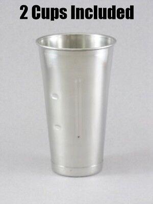 (2) Hamilton Beach Stainless Steel MilkShake Replacement Drink Mixer Cup