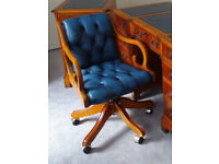 CHESTERFIELD ANTIQUE STYLE SWIVEL LEATHER/YEW OFFICE DESK CAPTAINS CHAIR