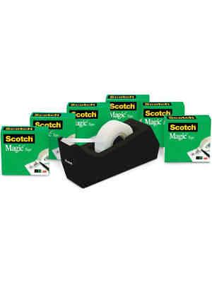 Scotch Magic Tape With Desktop Dispenser 34 X 1000 Clear Pack Of 6 Rolls