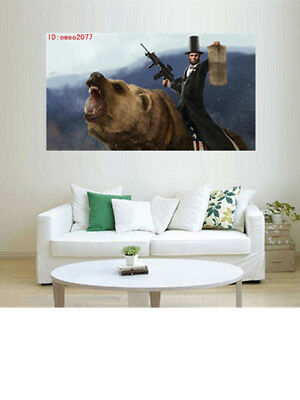 Lincoln Rode A Grizzly Bear HD Print Oil Painting Wall Decor Art on Canvas (Lincoln Rode)
