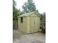 Bespoke garden sheds , workshops and summerhouses built to clients preference .