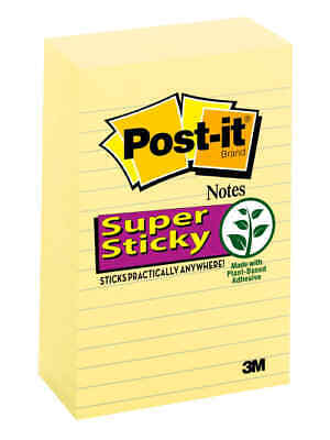 Post-it Super Sticky Notes 4 X 6 Canary Yellow Lined Pack Of 5 Pads