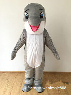 2019 Gray Dolphin Mascot Costume Christmas Party Game Fancy Dress Adult - Dolphin Fancy Dress Costume