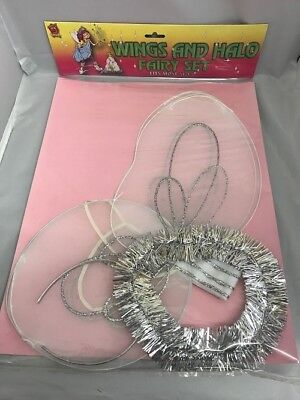 ANGEL/FAIRY WINGS AND TINSEL HALO SET FOR CHILDREN CHRISTMAS FANCY DRESS - Halo Costume For Kids