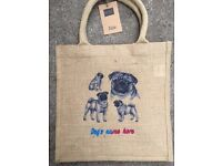 PUG BAG. 4 EMBROIDERED PUG DESIGNS & YOUR PERSONALISATION ON A HESSIAN JUTE TOTE BAG