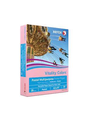 Xerox Vitality Colors Copier Printer Paper, Letter, 20 Lb, Pink, 500-Ream