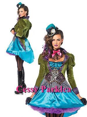 Alice In Wonderland Character Costume (Ladies Mad Hatter Alice in Wonderland Fancy Dress Cartoon Character)