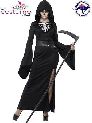 Womens Lady Grim Reaper Costume Halloween Skeleton Horror Fancy Plus Dress (Grim Reaper Costume For Women)
