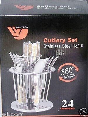 Flatware Set Cutlery Set 24 Pieces 18/10 Stainless Steell Rotator Stand