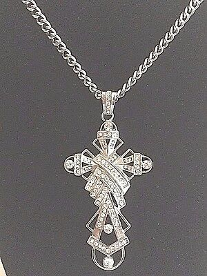 Celtic Cross Wrapped In Multi Paved Cz Stainless Steel Pendant Iced Out Bling